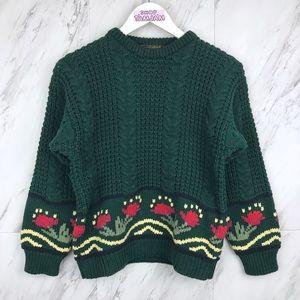 Vintage Eddie Bauer Chunky Knit Floral Sweater